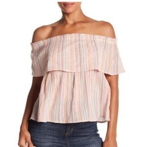 Lucky Brand • Crinkle Shine Off Shoulder Top • M